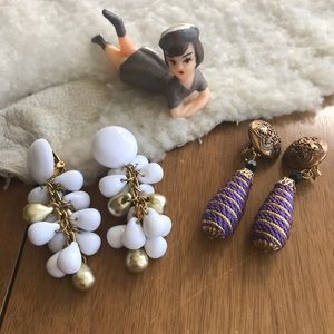 💎 Lot of 2 Pairs Fun & Funky Clip-On Earrings